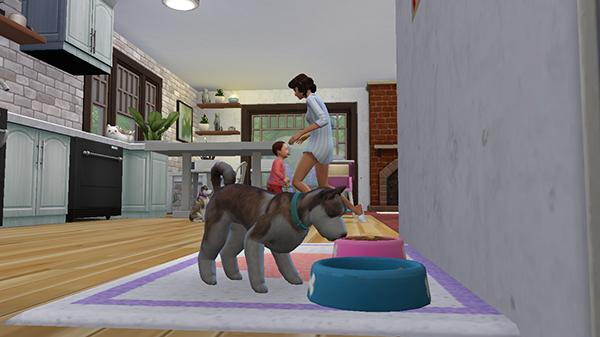 Un perrito comiendo y detrás madre e hija en Los Sims 4