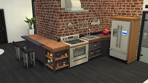 Cocina en casa moderna en Sims 4