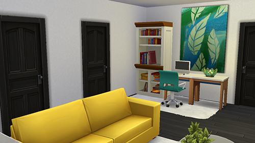 Estudio en casa moderna en Sims 4